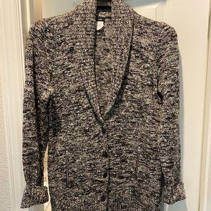 J. CREW Black/White Longline Wool Cardigan Sz. XL